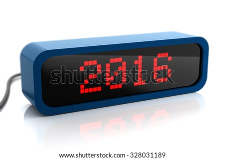 Led display of 2016 new year, isolated on white
