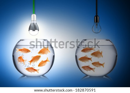 LED energy concept with fishes - stock photo