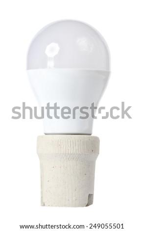 LED energy saving bulb on white - stock photo