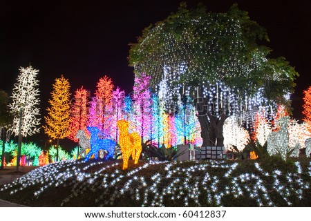LED garden decoration. Concept of energy saving, cool lighting and decoration. - stock photo