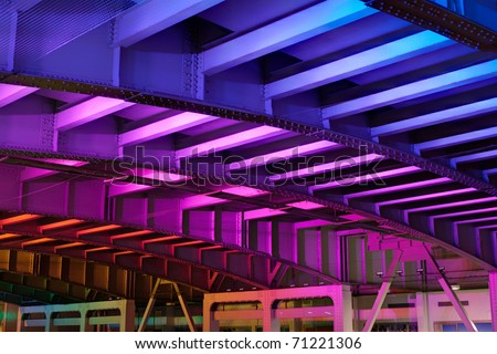 LED illuminated rainbow colored tunnel at San Francisco - stock photo