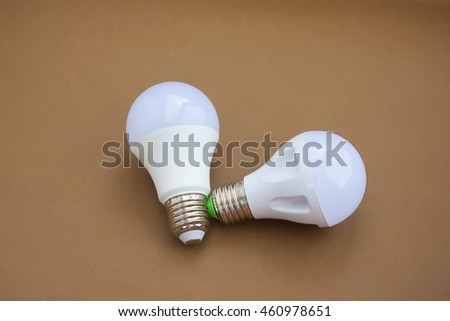 LED lamp bulbs on isolated background. Selective focus.