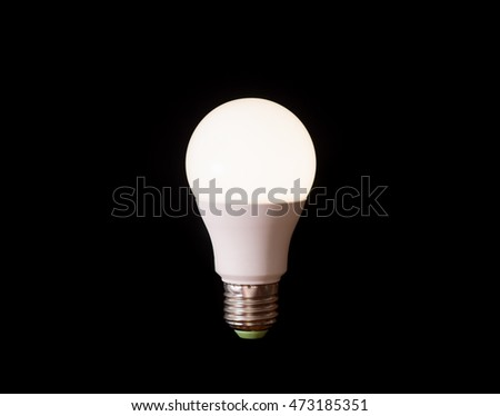 led lamp in black background