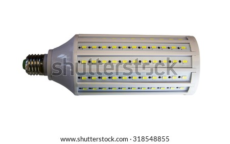 LED lamp isolated on a white  background  with clipping path. Closeup with no shadows.  50 watts.  Energy-saving technology. The lamp with a conventional socket.  - stock photo