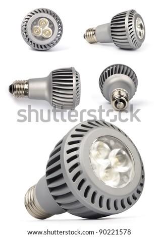 LED lamps isolated on white - stock photo