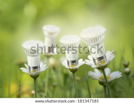 LED lamps like flowers concept - stock photo