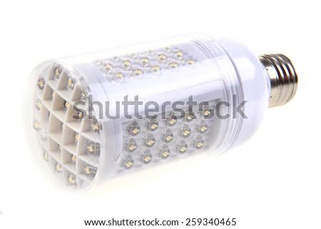 led light bulb isolated on the white background - stock photo