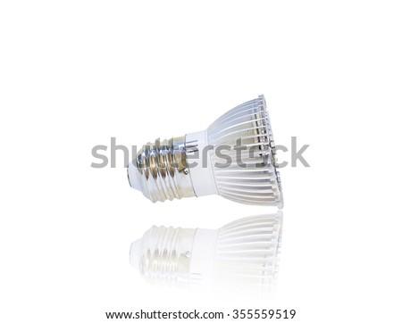 LED light bulb isolated on white background with reflection - stock photo