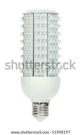 LED light bulb with 224 diodes producing 1000 lumens (same as 70W incandescent). The new era of  lamps as incandescent get banned in more and more countries. Isolated against white background. - stock photo