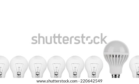 LED Light Bulb with tungsten light bulbs concept on white isolated - stock photo