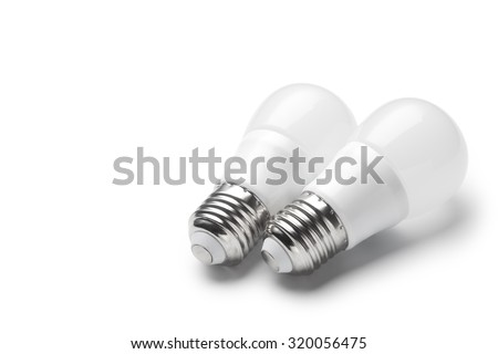 LED light bulbs on white background - stock photo