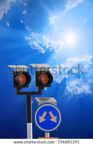 LED light solar power  traffic sign. Picture taken in Thailand. with clipping path  - stock photo
