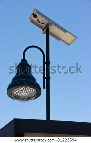 Led lighting and solar panel - stock photo