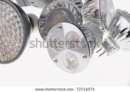 led  lights bulb isolated of white - stock photo