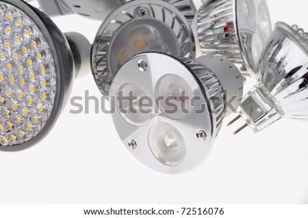 led  lights bulb isolated of white - stock photo