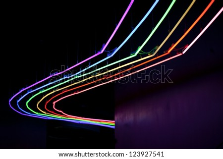 LED lights decoration on roof in museum - stock photo