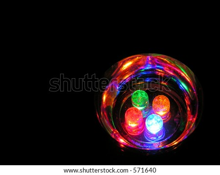 LED lights in black space - stock photo