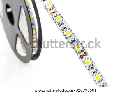 Led lights tape on white background. - stock photo