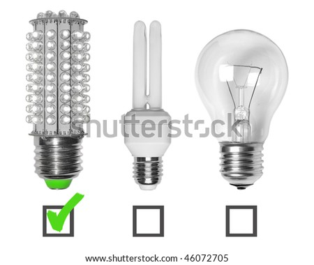 Led, neon and tungsten bulbs with check-boxes. - stock photo