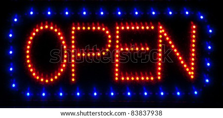 LED open sign - stock photo
