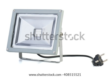 LED plant growing floodlight isolated on white background - stock photo