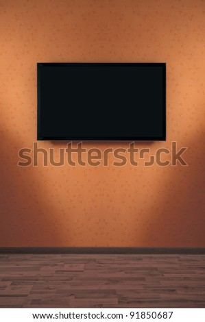LED Plasma TV on a wall - stock photo
