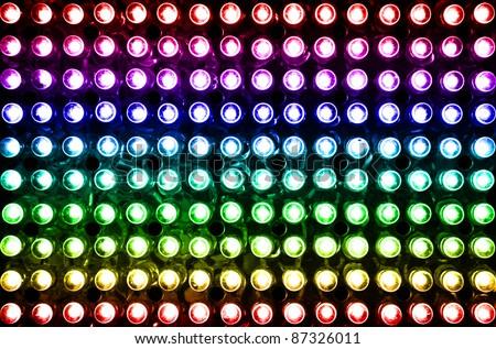 led rainbow lighting bulb pattern - stock photo