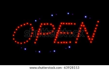 Led sign, Open. Night-shot. - stock photo