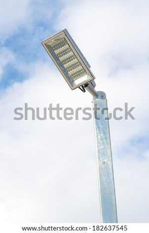 LED street lamps with energy-saving technology - stock photo