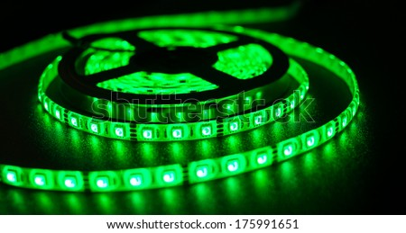 LED strip for decoration of interiors and buildings, light green at the moment - stock photo
