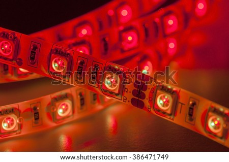 led strip lights, red color, close up - stock photo