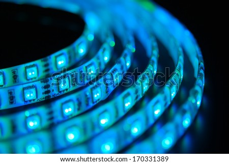 Led strip on the black background - stock photo