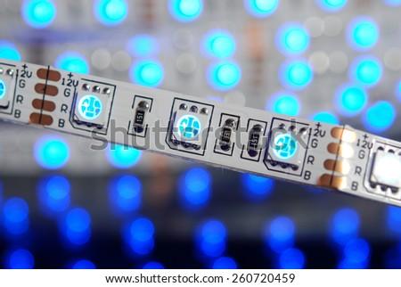 Led stripe on the led background - stock photo