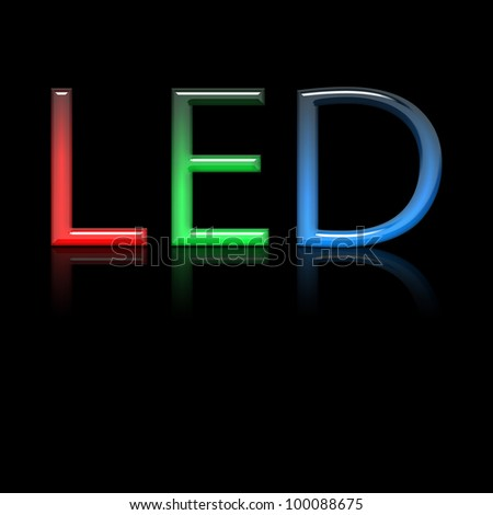 Led Text with reflection on black canvas - stock photo