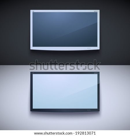 Led tv hanging on the wall. Two color, for your design - stock photo