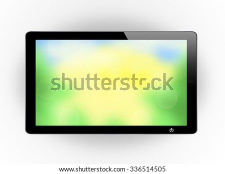 Led tv hanging with nature screen on the wall background - stock photo