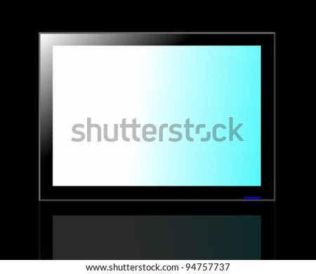 LED TV screen isolated on black background - stock photo