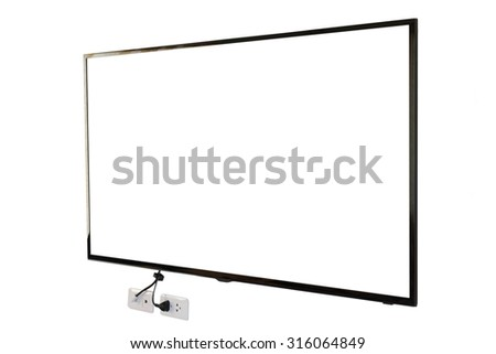 LED TV, wall installation with plug and outlet, isolated on white background - stock photo