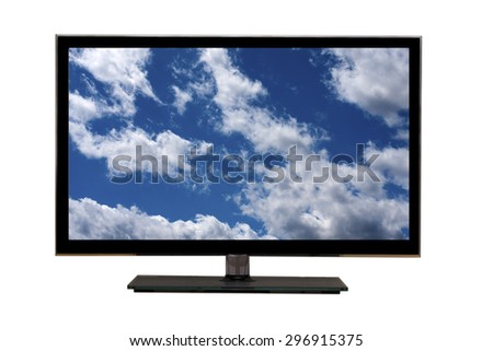 led tv with blue sky on screen - stock photo
