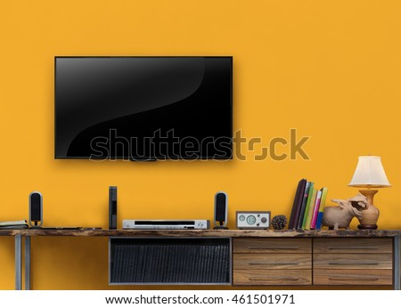 Led tv wooden table media furniture with yellow wall in living room