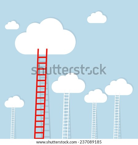 Ledder to cloud, business concept - stock photo