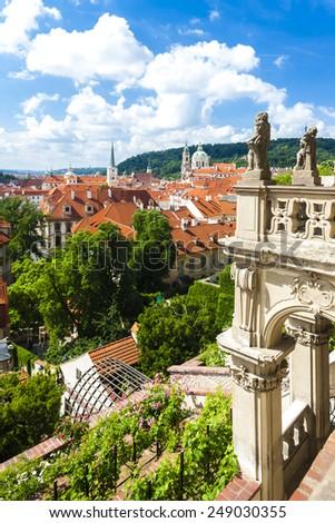 Ledeburska Garden and Saint Nicholas Church, Prague, Czech Republic - stock photo