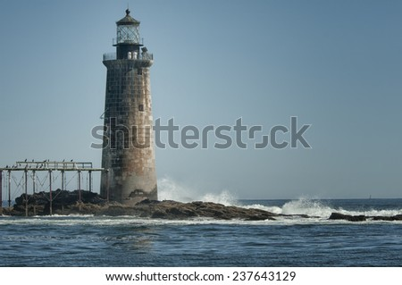 Ledge Lighthouse in Portland, Maine - stock photo