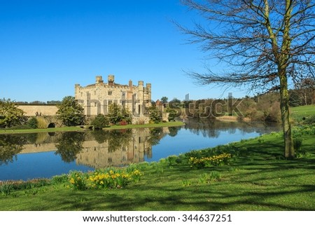 Leeds Castle from across moat with embankment in foreground. - stock photo