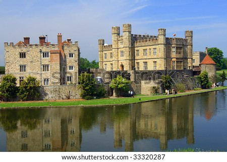 Leeds Castle mirrored in water - stock photo