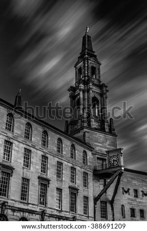 Leeds Civic Hall, United Kingdom, Black and White - stock photo