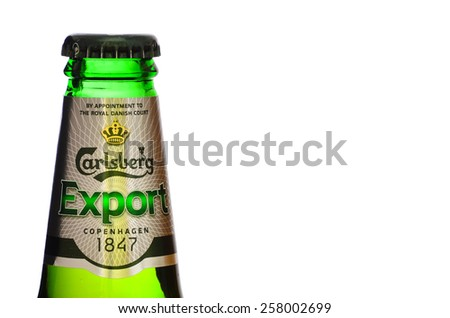 LEEDS - MARCH 04 : Carlsberg lager beer on a white background. 2015 in Leeds, UK. - stock photo