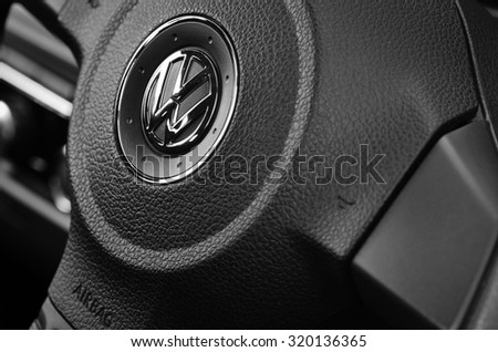LEEDS - SEPTEMBER 24: Volkswagen admit to fitting diesel engined vehicles with devices which could effect the outcome of emissions tests, September 24, 2015 Leeds, England. - stock photo