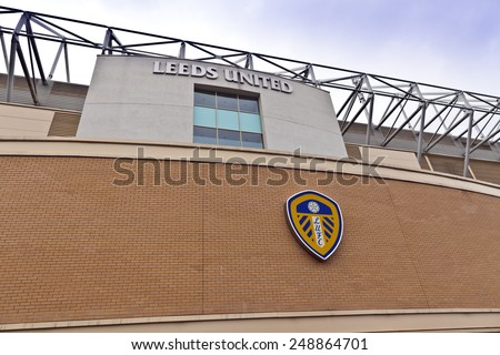 LEEDS, UK - APRIL 27, 2014: Elland Road stadium is home of Leeds United Football Club since 1919 following the disbanding of Leeds City F.C. - stock photo