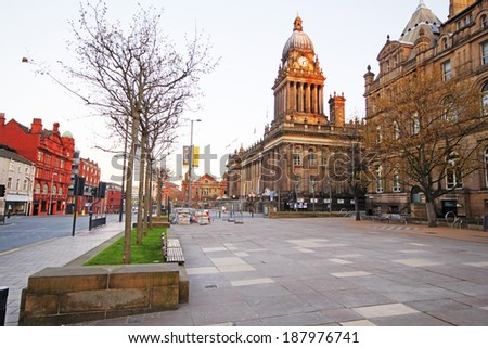 LEEDS, UK - APRIL 2014: Town Hall, Leeds, 18 April 2014. The 2014 Tour de France is scheduled to start in Leeds, at the Town Hall, on 5 July 2014 for the 101st time. - stock photo